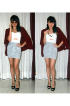 maroon blazer - white cut out top - heather gray knotted skirt