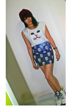 galaxy skull skirt - white boots - white kitty top