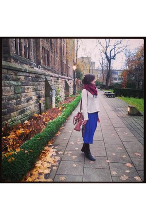 blue Topshop skirt - black next boots - maroon scarf - Forever 21 bag