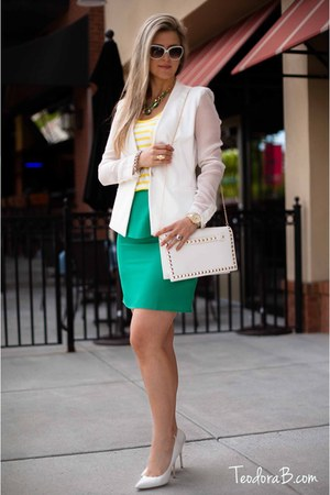 white Teodora B blazer - white pointed toe Aldo shoes