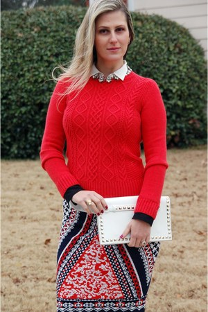 red CWonder sweater - Teodora B skirt - white Aldo pumps