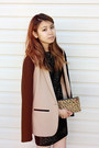 Black-loft-dress-tan-jcrew-blazer-camel-madewell-bag