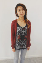 dark gray Zara shirt - brick red H&M cardigan - silver sonoma pants