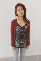dark gray Zara shirt - brick red H&M cardigan - silver sonoma pants