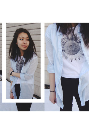 light blue H&M blouse - silver Aeropostale shirt - black Uniqlo pants