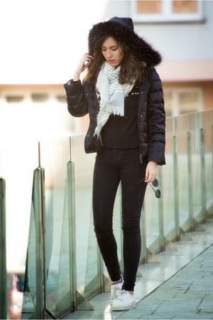 Adolfo Dominguez coat - pull&bear jeans - Zara scarf - Bershka sneakers