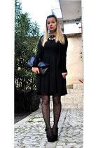 black westrags dress - black Naf Naf cardigan - heart shaped OASAP stockings