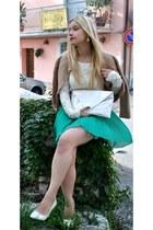 lace OASAP blouse - cream OASAP heels - beige Sisley cardigan