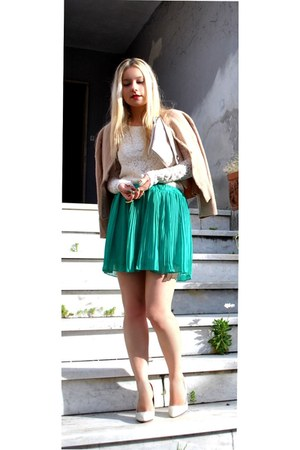 green wholesale-dressnet skirt - beige Sisley cardigan - lace OASAP blouse