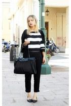 black H&M cardigan - stripes Casablanca sweater
