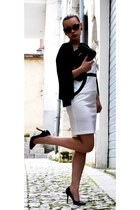 black chicnova bag - blackwhite Giorgia&Johns dress - black OASAP heels