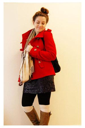red Forever 21 coat - black thrifted skirt - camel Gap scarf - cream H&M socks -