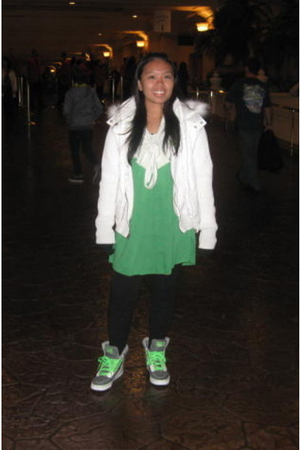 white sweater - white jacket - green dress - black tights - green shoes - black