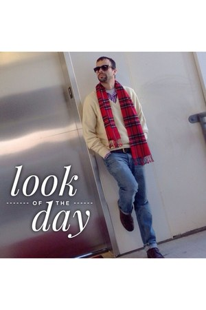 red Royal Stewart scarf - blue DKNY jeans - cream christian dior sweater