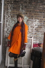 Orange-vintage-jacket-black-thrifted-boots-beige-thrifted-hat-gold-target-