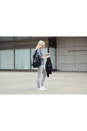 black H&M jacket - silver Zara jeans - black Sinsay bag - white Adidas sneakers