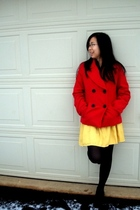 red Target coat - yellow Forever21 skirt - black Urban Outfitters shoes