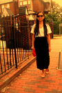 White-shirt-black-skirt-beige-shoes-red-bag