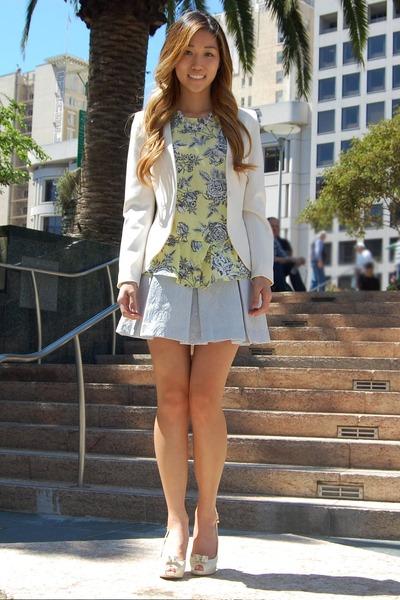 cream Wayf top - white H&M blazer - light blue full box pleat tildon skirt