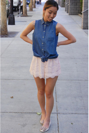 lace Tobi shorts - Topshop top - Betsey Johnson flats