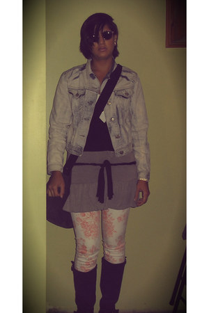 bleached denim DIY jacket - wedge Nue Options boots - Sivarna top