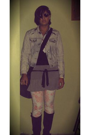 bleached denim DIY jacket - wedge Nue Options boots - Sivarna top