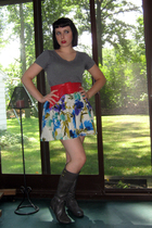 Victorias Secret t-shirt - Forever21 belt - Dept Store skirt - Target boots