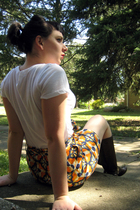 orange ikat print Zara skirt - brown W d Collection boots