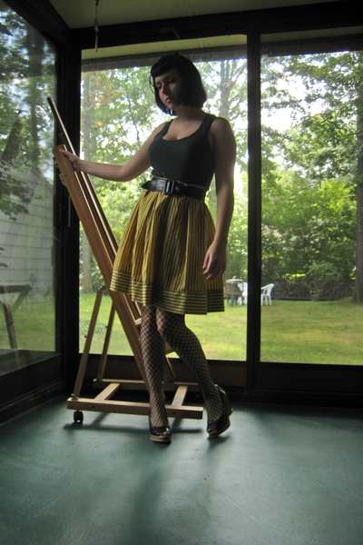 H&M shirt - Forever21 skirt - shop in Portugal belt - Betsey Johnson stockings -