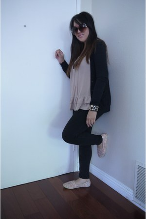 black black thin Forever21 cardigan - salmon shoes cotton on flats