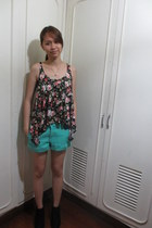 black suede wedge Forever 21 boots - aquamarine Forever 21 shorts