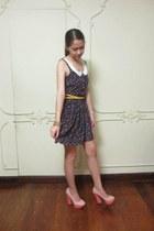 navy floral Jellybean dress - mustard Jellybean belt - light pink comfit heels
