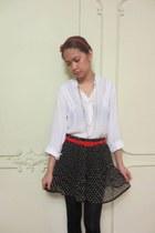 navy Forever 21 skirt - red thrifted belt