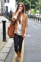 tawny Stradivarius boots - tawny Forever 21 blazer - black Zara pants