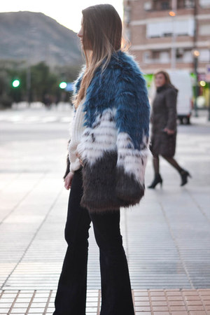 navy faux fur zaful coat