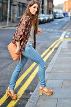 light orange Zara jacket - sky blue Zara jeans