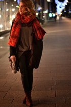 gray H&M sweater - brick red H&M scarf
