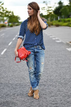 navy Zara shirt - teal Zara jeans - ruby red Zara bag