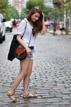 white pull&bear shirt - sky blue Zara shorts