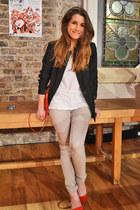 beige Zara jeans - black Bershka blazer