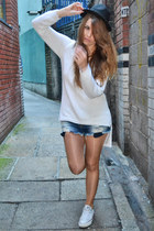 white Zara sweater - black H&M hat - navy Zara shorts