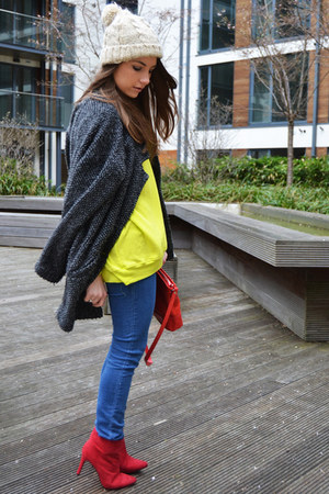 red H&M boots - yellow Zara sweater