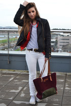 black Zara jacket - ruby red Primark scarf - off white pull&bear pants