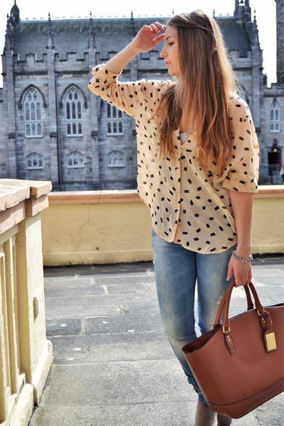 tawny Primark bag - blue pull&bear jeans - peach Forever 21 shirt
