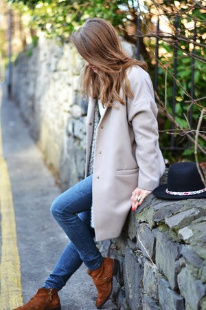 beige Primark coat - black Zara hat