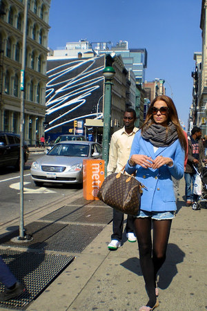 sky blue H&M blazer - heather gray Zara scarf - dark brown Louis Vuitton bag