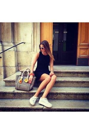 light brown Celine bag - black H&M dress