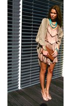 tan H&M dress - bronze Chanel bag - beige Calypso StBarth cardigan