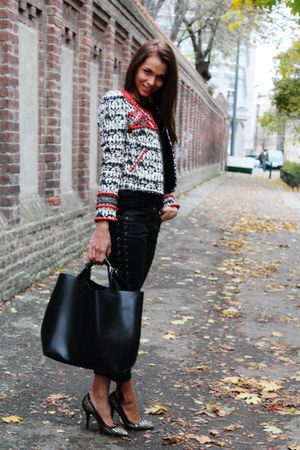 ruby red H&M jacket - black H&M Isabel Marant pants