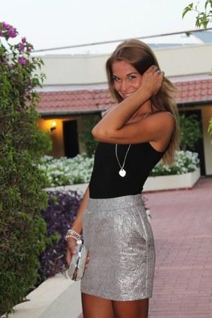 silver Accessorize bag - black Zara sandals - black H&M top - silver Etro skirt